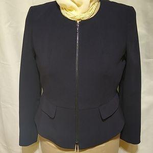 Anne Klein Classics Navy Peplum Zip Blazer Jacket